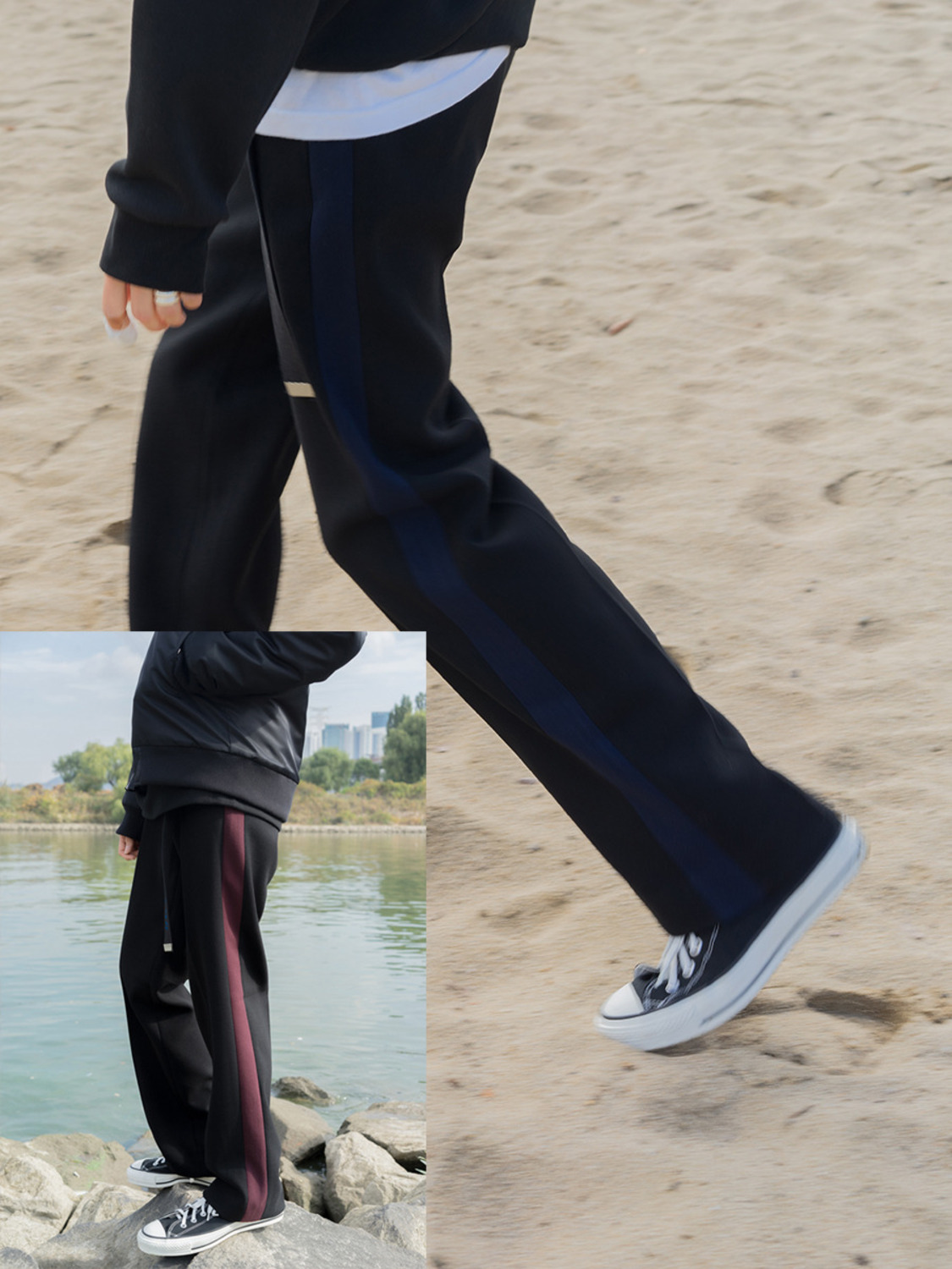 (MADE IN HIFIFNK) HFF SIDE SLACKS (2COLOR)